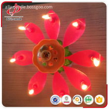 Happy birthday pink flower rotating music candle