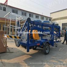 6m a 16m reboque rebocável montado mini elevador de lança