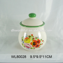 Wholesale popular design ceramic food storage container with decal