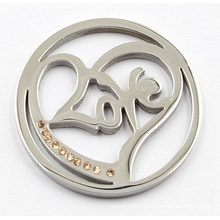 Silver Heart Love Coin Plate Fit 33/35 / 38mm Lockets