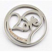 Silver Heart Love Coin Placa Ajustar 33/35 / 38mm Lockets