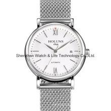 De acero inoxidable de malla de banda automático reloj suizo