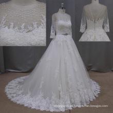 Spitzen Braut Kleider Echtphoto braun Brading Tüll Brautkleider