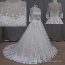 Robes de mariée dentelle vraie Photo brune Brading Tulle robes de mariée