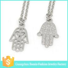 Offre spéciale religieux argent plaqué strass Hamsa pendentif bijoux collier