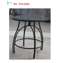 Table ronde en osier meubles en rotin avec verre (CF1308T)