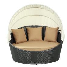 Loisirs de plein air meubles Pe en osier Design lit de bronzage