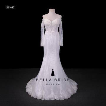 V volta correia de espaguete vestido de noiva de manga longa vestido de noiva decote sweetheart