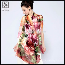 High Quality Silk Digital Floral Printed Scarf