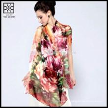 Высокое качество Шелковый цифровой цветочный печатный шарф
