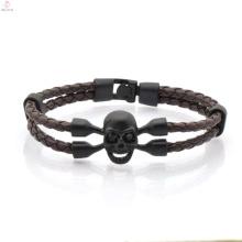 Moda dupla envoltório de couro trançado crânio pulseira para homens