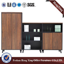 Wooden Glass Doors Office Bookcase Modern Melamine Office Furniture (HX-6M344)