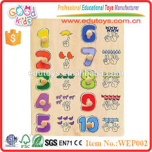 Kindergarten Children Learing Number Wooden Peg Puzzle