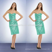 Glacier Knee Length Bridesmaid Dress Patterns 2014 Sweetheart Short Satin Sheath Prom Gown With Asymmetrical Pleats NB0738