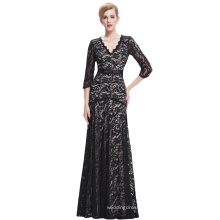 Starzz 2016 3/4 Sleeve V-Neck Elegant Black patterns of lace evening dress ST000012-1
