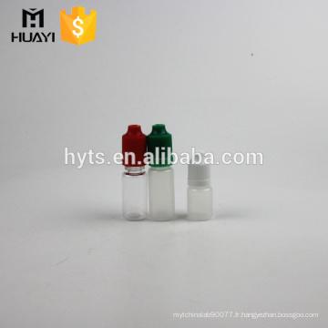 E liquide 5 ml 10 ml flacon PET / PP bouteille en plastique avec bouchon à l'épreuve des enfants