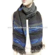 Woven scarf, made of fancy yarns/mohair/acrylic/cashmere, yarn dye, measures 180*70+4cm lino weaving