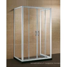 Cabine de douche en verre à trois côtés en alcôve