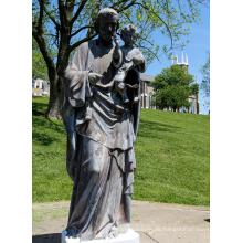 fundición de fundición de bronce Jesús estatua de padre e hijo para el jardín