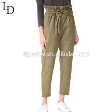 Dongguan alta calidad al por mayor empate cintura mujeres volantes pantalones