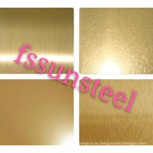 Hojas de color de acero inoxidable NO.4 GOLD PVD