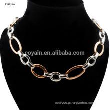 2 cores diferentes chapeamento de aço inoxidável simples moda falsa colar de corrente de ouro