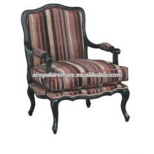 Französisch Stil Streifen Stoff Holz geschnitzte Chaise XF1013
