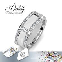 Destino joyas cristales Swarovski anillo de fusión de