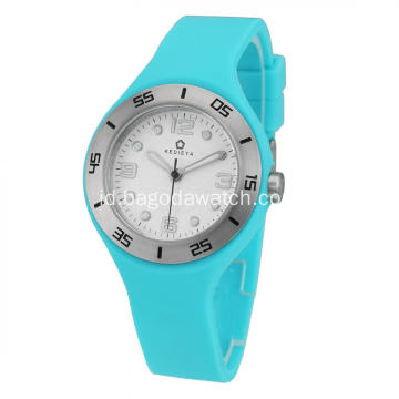 Stainless steel sky blue silicone watches