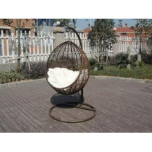 PE Rattan Swing Chair , Garden / Balcony Glider With White