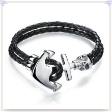 Stainless Steel Jewelry Leather Jewelry Leather Bracelet (LB058)