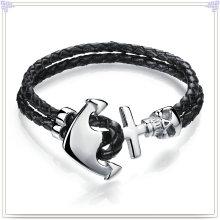 Aço inoxidável jóias de couro pulseira de couro de jóias (lb058)