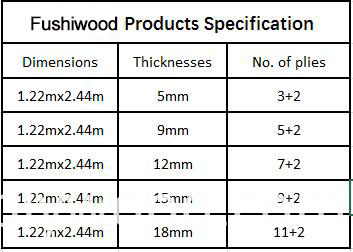 Fushi plywood specification
