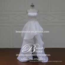 Glamour de alta qualidade estilo coreano amostra real de babados vestido de casamento curto strapless