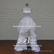гламур высокое качество корейский стиль реального образца рябить без бретелек короткое свадебное платье