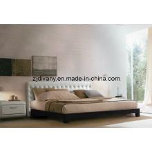 Cama de casal em couro madeira Europeia moderna casa cama (A-B16)