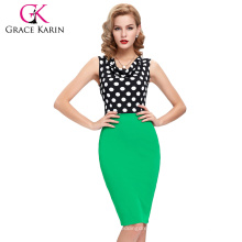 2016 New Arrival Occident Women's Slim Fit Sleeveless Green V-Neck Polka Dots Splicing Short Pencil Dress CL009265-2