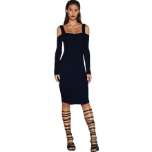 Черный горячий сексуальный Backless бретельках Bodycon Slim платье 2016