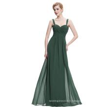 Starzz Sweetheart sans manches en mousseline de soie vert foncé Longue robe de soirée ST000065-4