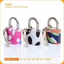 China atacado Venda Por Atacado padrão pintado padlock mini cor padlock com 3er pack