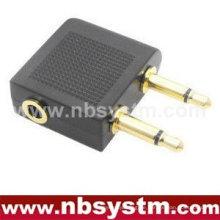 2x 3,5 mm Mono Stecker auf 3,5 mm Stereo Klinkenadapter