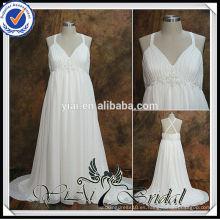 RSW538 Criss espalda espalda imperio cintura gasa tamaño grande vestidos de novia para las mujeres embarazadas