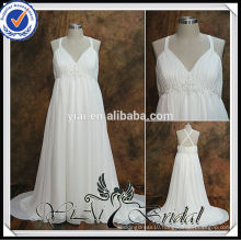 RSW538 Criss Cross Back Empire Waist Chiffon Big Size Wedding Dresses For Pregnant Women