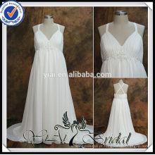 RSW538 Criss Cross Back Empire Waist Chiffon Vestidos de casamento de tamanho grande para mulheres grávidas