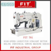 Haute vitesse Machine à coudre piqueuse droite bouton trou (FIT781)