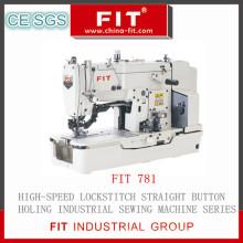 Высокая скорость прямострочные прямые кнопки отверстие швейная машина (FIT781)