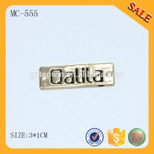 MC555 Gold garment accessories personalized 3d metal letters on a brand name plate and labels