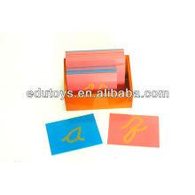 Baby Montessori Spielzeug - Sandpapier Buchstaben, Kleinbuchstaben Cursive, mit Box
