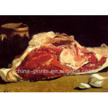 Venta al por mayor Arte de la pintura de la comida de la carne por el aceite pintado a mano