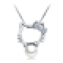 Women 925 Sterling Silver Freshwater Pearl Cat Pendant Necklace